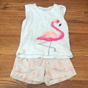 Pink flamingo Pull-on shirt and tank set 2T